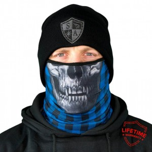 FROST TECH LUMBERACK BLUE SKULL FLEECE LINED FACE SHIELD
