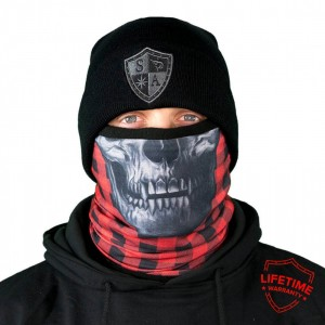 FROST TECH LUMBERACK RED SKULL FLEECE LINED FACE SHIELD