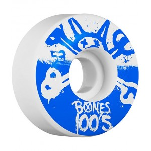 Set 4 roti skateboard Bones SBA 100s Black Blue 53mm